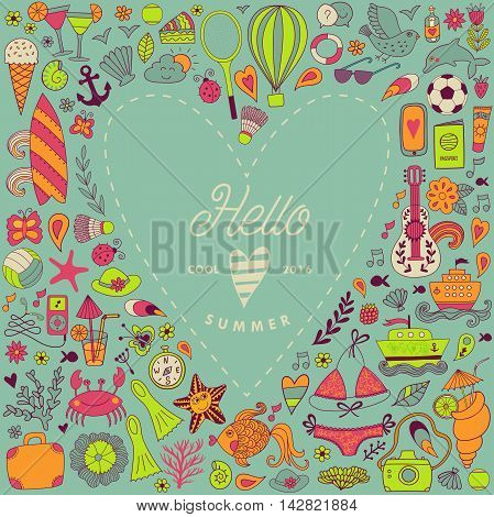 Summer greeting card, hand drawn vector symbols and objects, travel vacation doodle elements in heart shape