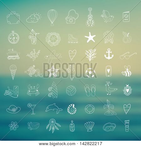 Summer set icons, summer beach hand drawn vector elements and objects, travel vacation doodle symbols .