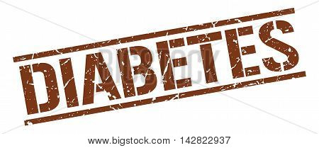 diabetes stamp. brown grunge square isolated sign