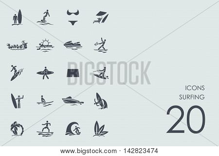 surfing vector set of modern simple icons