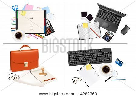 Big set of business and office supplies. Vector.