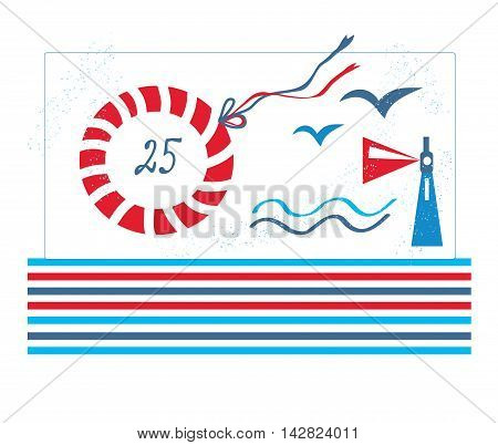 Sea design card for birthday or party - vector graphic illustration simple style