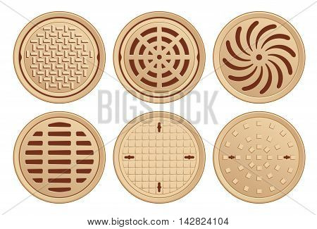 Bronze Manhole Covers. Vector Illustration of various Manhole Covers. Each Pattern in separate layer.