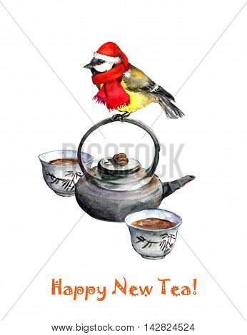 New year greeting card with holiday bird tit on chinese tea pot. Watercolor