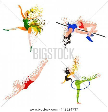 Creative abstract illustration of Samba Dancer, High Jump Athlete, Swimmer and Gymnastics Player on white background for Sports concept.