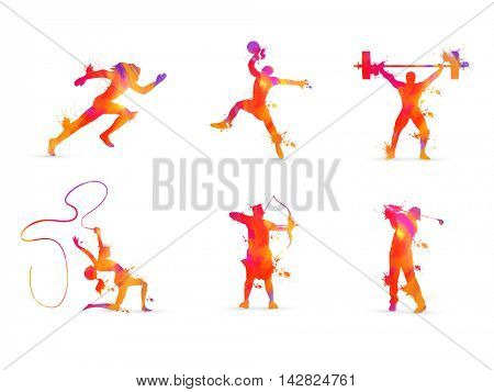 Set of Race, Basketball, Weightlifting, Gymnastics, Archery and Golf Sports Players in action, Creative vector illustration made by abstract colorful splash.