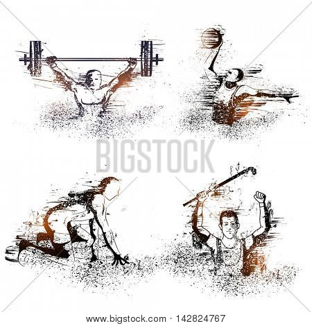 Creative abstract illustration of Weight lifting, Basketball, Race and Hockey Players on white background.