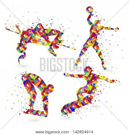 Creative illustration of High jump, Basketball, Swimming and Surfing sport players made by colorful abstract design.