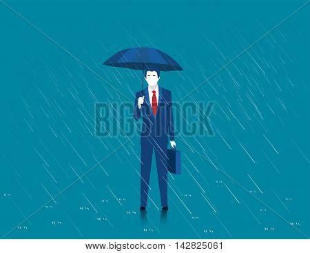 Businessman holding an umbrella. Man standing in rain. Heavy rain rain storm. Modern man a stylish suit with elegant umbrella. Vector Illustration