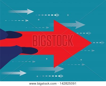 Businessman walking by the arrow forward. Forward business as planned. Business concept. Vector flat