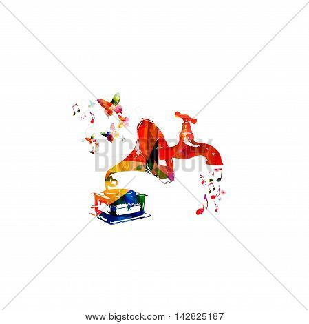 Vector illustration for music inspires concept combining colorful old, vintage gramophone with water tap dripping music notes, collected from flower ornament elements and decorated with butterflies