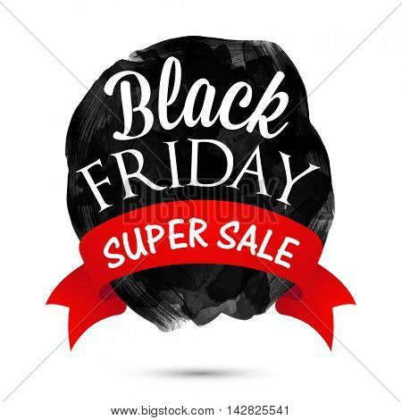 Black Friday, Super Sale Poster, Banner or Flyer design, Creative Abstract brush stroke background with ribbon, Vector illustration.