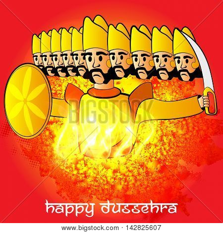 Happy Dussehra celebration with burning Ravana on abstract background, Can be used as Poster, Banner or Flyer design.