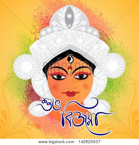 Hindu Mythological Goddess Durga and Bengali Text Shubho Bijoya (Happy Dussehra) on colorful splash and floral design decorated background.