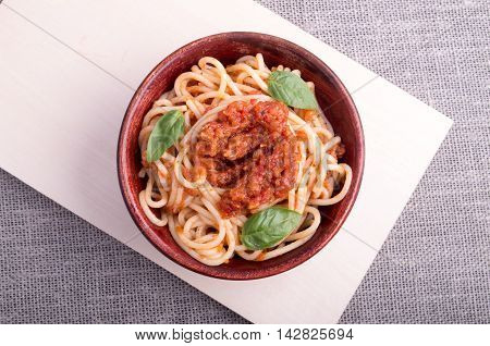Top View Of Cooked Spaghetti With Tomato Relish