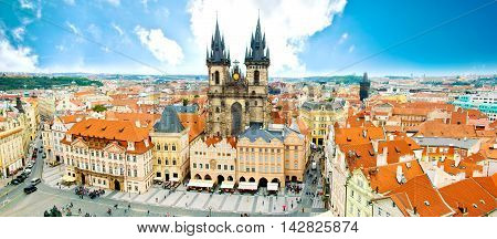 Monuments of Prague. Old Town with Tyn Church and on square.