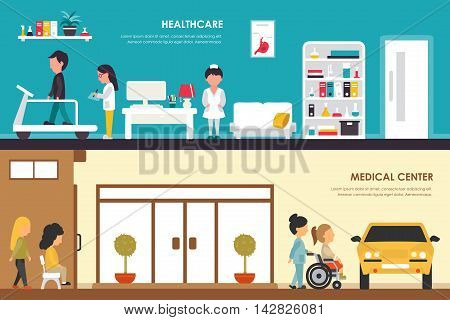Healthcare and Medical Center flat hospital interior outdoor concept web vector illustration. Ambulance, Emergency, Laboratory, Medicine service and staff