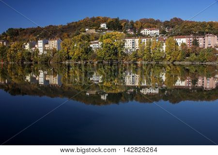 Modern french houses near the river in Europe