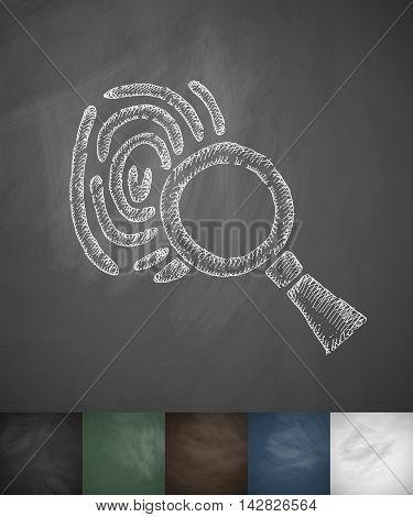 fingerprint icon. Hand drawn vector illustration. Chalkboard Design