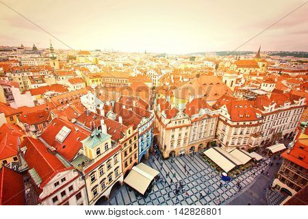 Monuments of Prague. Old Town. View on many tourists seen from Old Town City Hall.