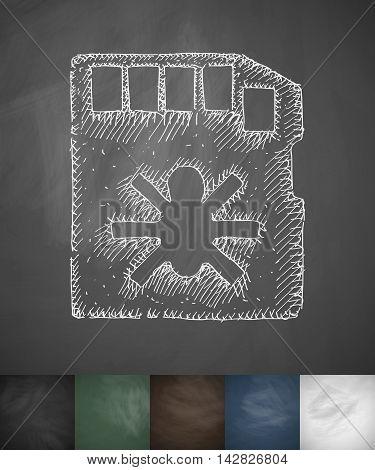 virus code icon. Hand drawn vector illustration. Chalkboard Design