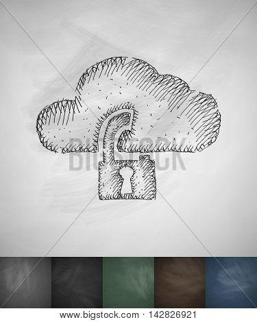 cloud lock icon. Hand drawn vector illustration. Chalkboard Design
