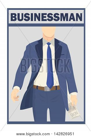 Businessman standing. Full length portraits of businessman. Elegant businessman in suit isolated on white background. Vector illustration.