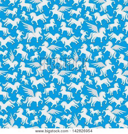 Pattern for seamless background cute pegasus, unicorn and the horse.