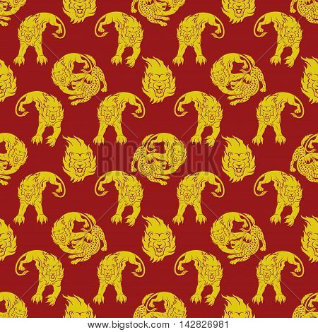 Pattern for seamless background lion attacking a hyena.