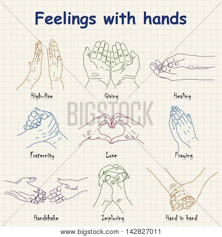 Hand-drawn emotions - feelings with hands design