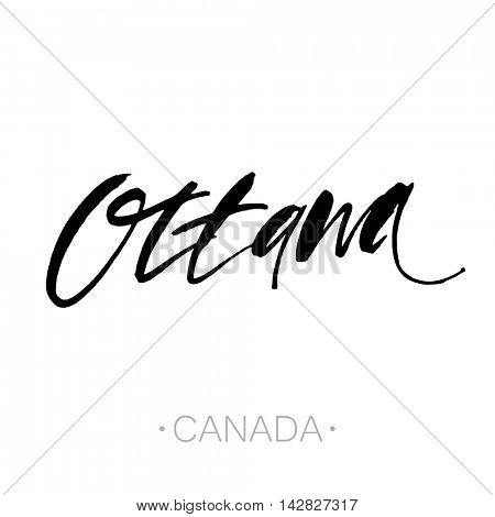 Ottawa, Canada hand-lettering calligraphy. Ottawa hand drawn vector stock illustration. Modern brush ink. Isolated on white background.