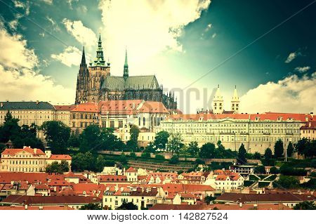 Monuments of Prague. View of Hradcany with St. Vitus Cathedral and Castle of Prague.