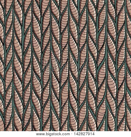 Stylized striped worms or slugs seamless vector pattern for textile and background.