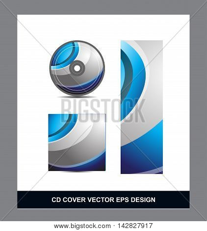 Blue silver grey gradient Cd Dvd cover movie music vector template design illustration for business