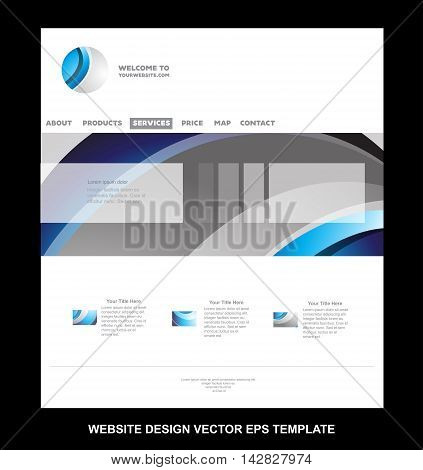 Vector website template design illustration for business blue silver grey abstract corporate