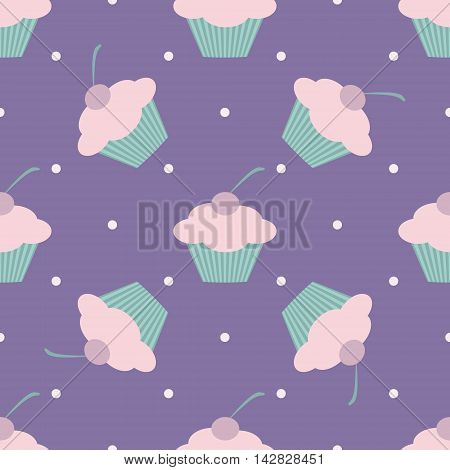 Vector seamless cupcake or muffin pattern in delicate tender colors pink turquoise violet green doted background. Vintage polka dot design for wrapping textile website