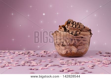 Close up of a delicious colorful baked sugar cake with star background