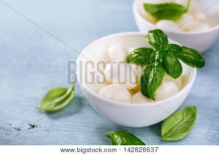 Small Mozzarella balls and fresh basil, selective focus