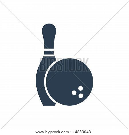 Bowling icon black isolated on a white background. Skittle and ball. Game entertainment sports. vector illustration flat style. Set bowling.