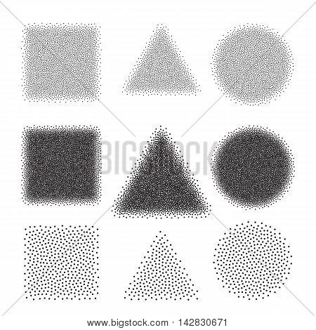 Abstract Dot work Shape Backgrounds Circle, Triangle, Square. Halftone Vector Illustration