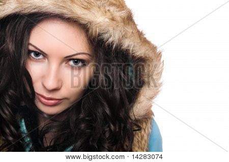 Closeup Portrait Of Pretty Young Brunette