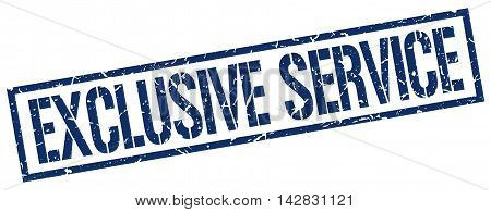 exclusive service stamp. blue grunge square isolated sign