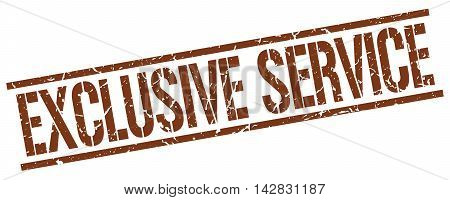 exclusive service stamp. brown grunge square isolated sign