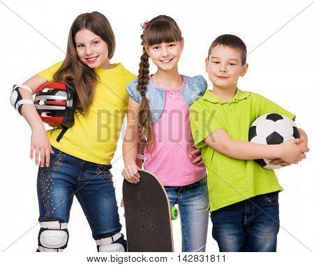 playful schoolchildren holding sport equipment in hands isolated on white background