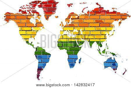 Map of World in colors of pride flag - Illustration,  World map lgbt love colors in brick style,  Bricks painted with the LGBT rainbow in the silhouette of whole world map