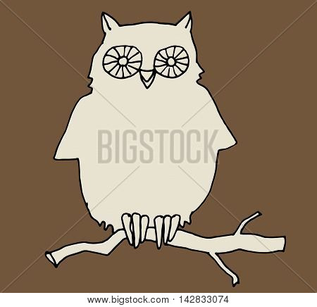 Sketch illustration of owl on brown background