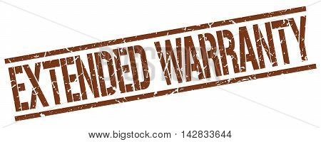 extended warranty stamp. brown grunge square isolated sign