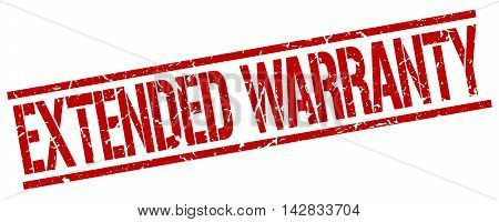 extended warranty stamp. red grunge square isolated sign