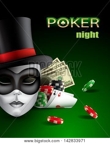 Poker casino poster with mask, chips, cards and money.