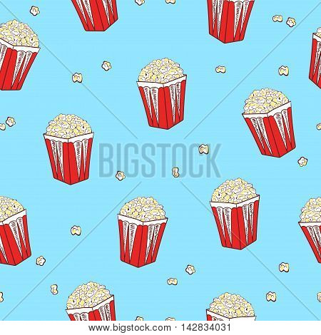 Popcorn seamless pattern. Vector background with pop corn boxes.